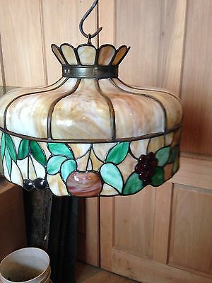 Lt 3 Antique Stainglass Hanging Light Fixture Leaded With Fruit