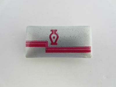 Porcelain Lapel Tie Pin Silver Background Pink Logo By Thosca Limoges France