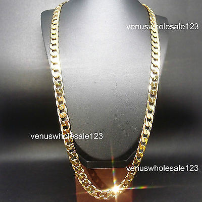 """30"""" 12mm Stapmed ITALY 24K Heavy Yellow Gold Filled Men Jewelry Chain Necklace"""