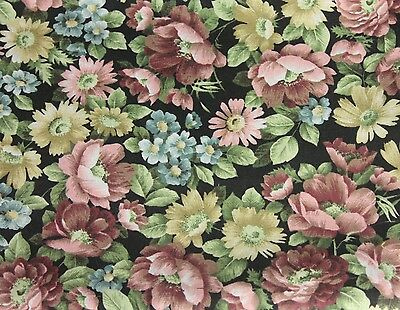 Vintage French Textile Fabric Floral decor