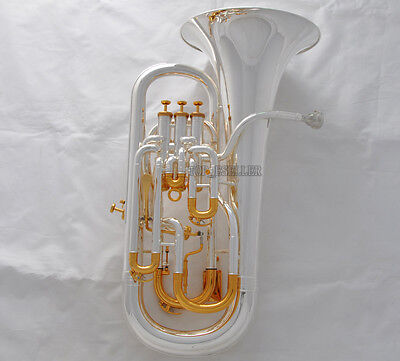 Professional Silver Plated Compensating Euphonium (Trigger) Horn With Case