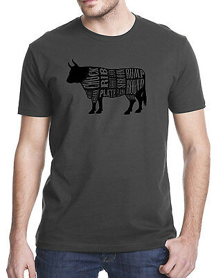 Cuts of Meat Beef Cow Butcher Burger Steak Chef Cook Adult T-shirt Tshirt Tee