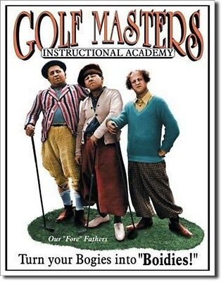 THE THREE 3 STOOGES Golf Masters Retro Metal Tin Sign