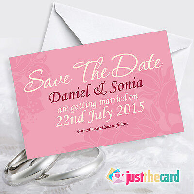 50 Personalised Pink Save The Date Cards With Envelopes