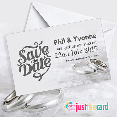 50 Silver Personalised Save The Date Cards