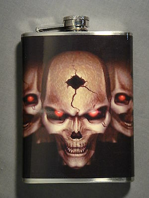 BULLET HOLE SKULL DESIGN 8oz STAINLESS STEEL FLASK RED EVIL EYES SCARRY DEAD