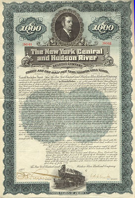 1897 New York Central and Hudson River Railroad > $1000 gold bond certificate