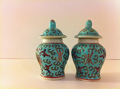 """Pair Of Vintage Miniature Porcelain Vases made In China Red Chinese Mark 3""""H"""