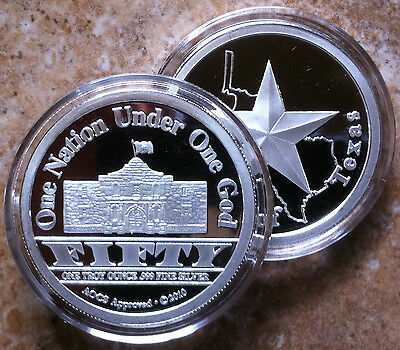 1oz .999 FINE SILVER Republic Of Texas ALAMO Round Coin PROOF UNCIRCULATED 2010
