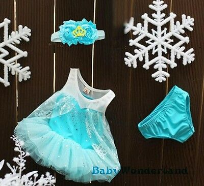 New Baby Girls Frozen Elsa Costume Party Birthday Dress 3Pieces Set Size 0,1,2
