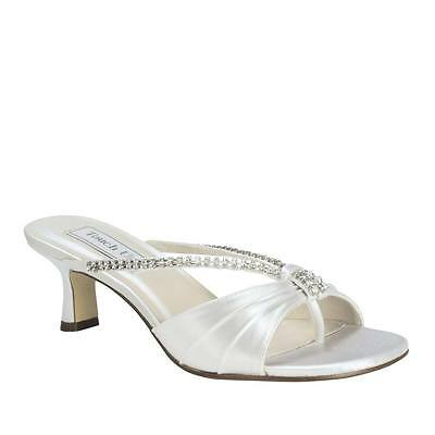 Women's White Dyeable Rhinestone Phoebe Kitten Heel Sandal Formal Bridal Shoe