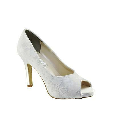 Touch Ups Catalina Dyeable White Lace Women's High Heel Pump Prom Bridal Shoe
