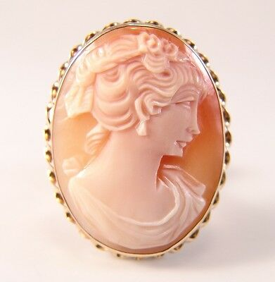 Hand Carved Shell Cameo Solid 14K yellow Gold Brooch Pin Pendant Vintage Estate
