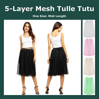 5 Layers Midi Mesh Tulle Skirts Princess Tutu Petticoat Mid to Mid-Calf Length