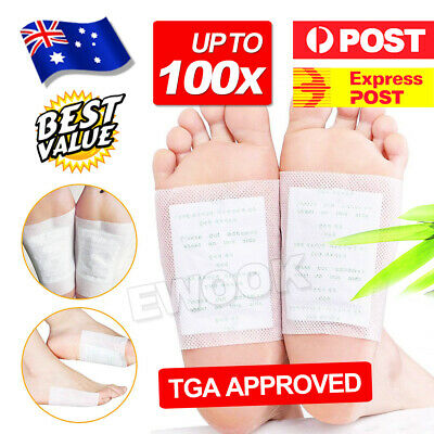 OZ J Natural Plant Toxin Removal Detox Foot Pads Patch 100x Sticky Adhesives