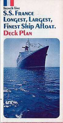 1972 s/s FRANCE (s/s NORWAY) Full Ship Deck Plan  - NAUTIQUES sHiPs WORLDWIDE