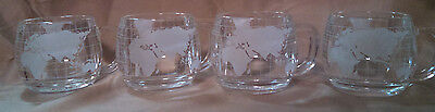 Nestle World Globe Mugs Cups Set of 4 Etched/Clear Glass Coffee Tea Hot Cocoa