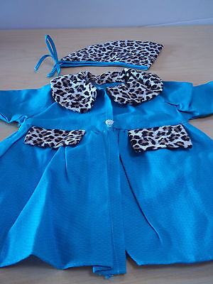 Vintage Handmade Girls' Blue Dress Coat With Leopard Trim & Matching Hat
