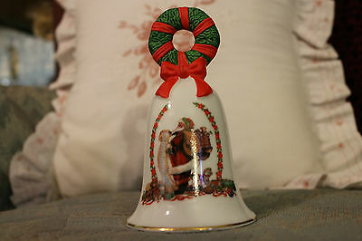 1995 AVON SANTA with LIST and TOYS Collectible Porcelain CHRISTMAS BELL