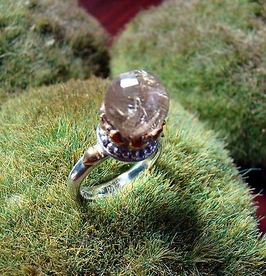 Sterling Silver 925 Crown Ring Handcrafted Rutilated Quartz Sphere size 6.5