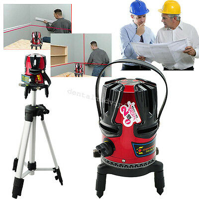 New 8 line Rotary Laser Beam Self Leveling Interior Exterior Laser Level Kit