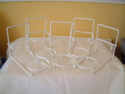 5 X Trio Cup Saucer & Plate Display Stands White Nylon Coated Metal