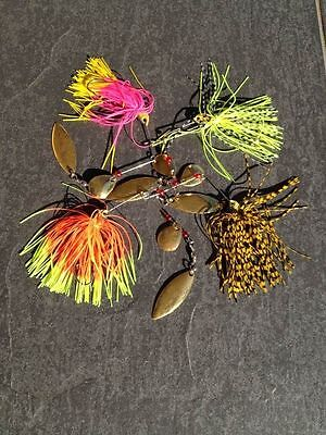 Assorted Fishing Lures Spinner Bait Buzz Bait & 2 Blade Spinners 1/2 oz 4pcs