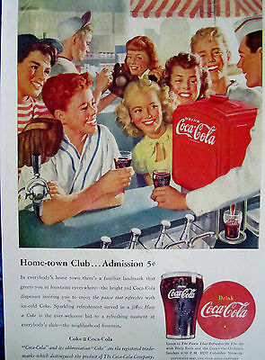 "Vintage Coca Cola 1947 SODA FOUNTAIN  Ad Store Sign ""HOMETOWN BASEBALL CLUB"""