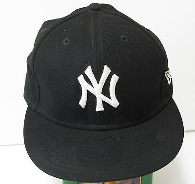 New York Yankees Baseball Cap Black New Era 59Fifty size 7-3/8 100%wool