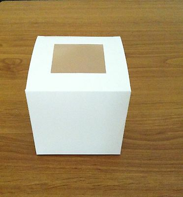 Single Cupcake Cup Cakes Box White with Top Clear Window x 100 Boxes Wedding