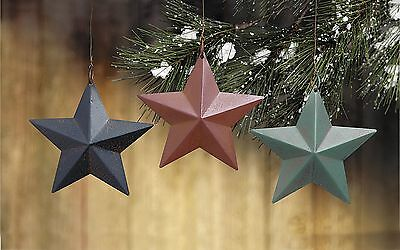 """Lot of 12 Tin Barn Star RED GREEN & BLUE 3 3/4"""" Christmas Ornaments"""