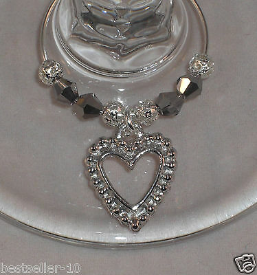 10 x Wine Glass Charms Silver Hearts Wedding party / Christmas art