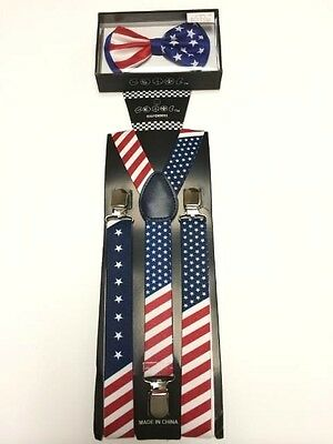 American USA Flag Patriotic Bowtie and Suspenders New in Package!!!