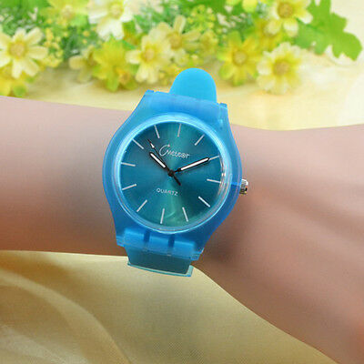 Newest Korean Women Men Silicone Band Quartz Sport Candy/Jelly Color Wrist Watch