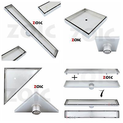 Stainless Steel Tile Insert Stealth Floor Waste Grate Water Shower Drain Channel