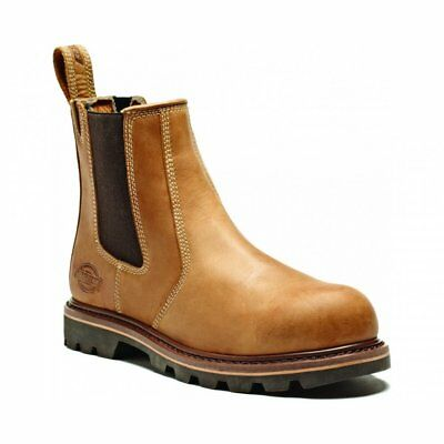 Mens Dickies Fife Leather Dealer Safety Work Steel Toe Cap Chelsea Boot Tan 7-11