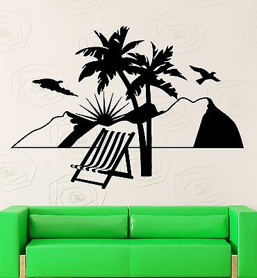 ig2692 Wall Decal Silhouette Woman Relax Beach Vacation Travel Vinyl Stickers