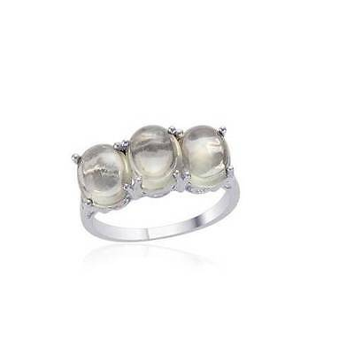 4.5ct Indian Green Moonstone Trilogy Ring in 925 Sterling Silver - UK Size M