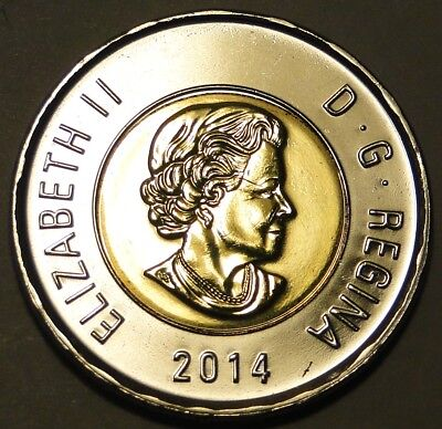 BU Brilliant Uncirculated UNC Canada 2014 Toonie $2 dollar coin from mint roll