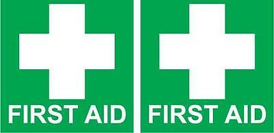 Twin FIRST AID Stickers 100mm x 100mm Sign Decal Set Public Safety OHS WHS