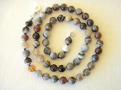 "Botswana Agate Necklace 6mm Bead 20"" Hand Knotted Multi Colour 6 mm Banded Agate"