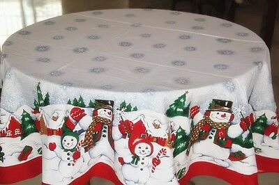 """70"""" Holiday Christmas Snowman Cotton Tablecloth Table Cover 101"""