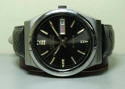MENS VINTAGE CITIZEN AUTOMATIC DAY DATE WRIST WATCH USED ANTIQUE G167 OLD