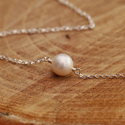 Sterling Silver Necklace Single 9mm Natural White Freshwater Pearl Handmade Gift