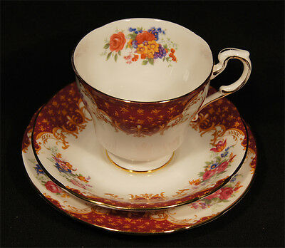 Superb 1950's Paragon Bone China Trio In Elegant Rockingham Pattern Top Cond.