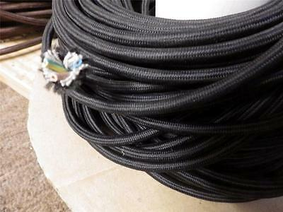 1metre deco textile fabric electrical cord cloth cable 3 core wire,brown / black