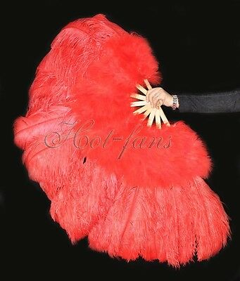 """Burlesque 53"""" Red Marabou & Ostrich Feathers Fan Bamboo Stave Carrying box"""
