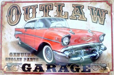 OUTLAW GARAGE Genuine Stolen Parts  Metal tin Sign