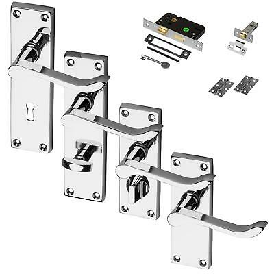 Chrome Door Handle Polished Set Pack Mortice Latch Lock Bathroom Privacy Scroll