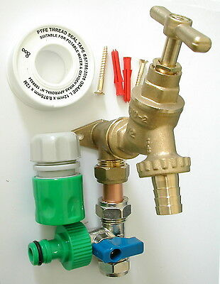 Outside Tap Kit With Permanent Hose Branch & Garden Hose Fittings
